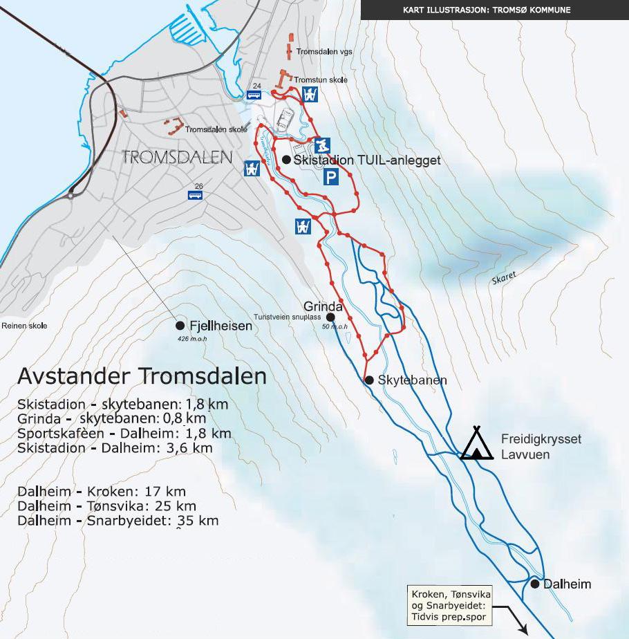 Lysløypa i Tromsdalen - Trase