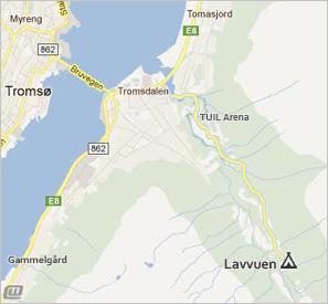 Kart over Tromsdalen