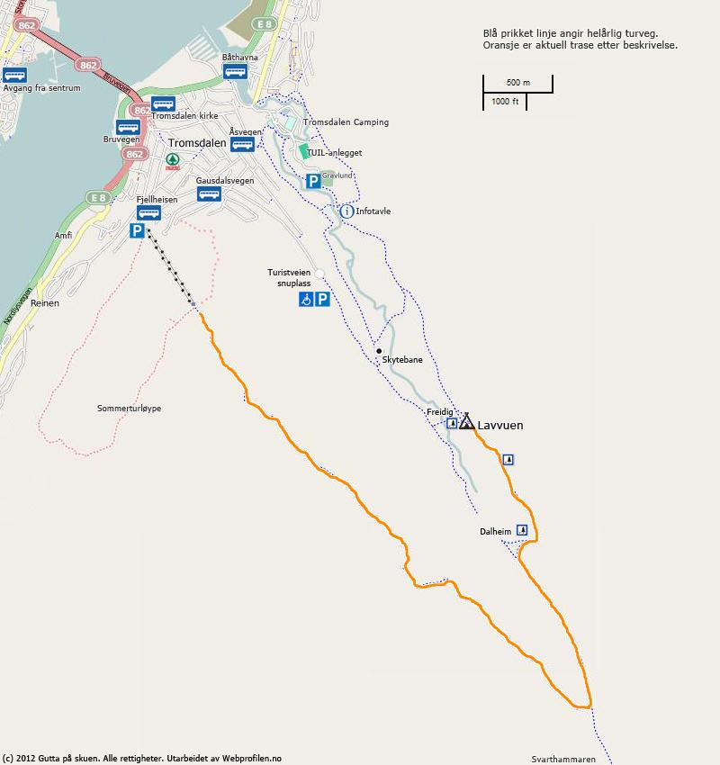 Fra Fjellheisen til Lavvuen Kart
