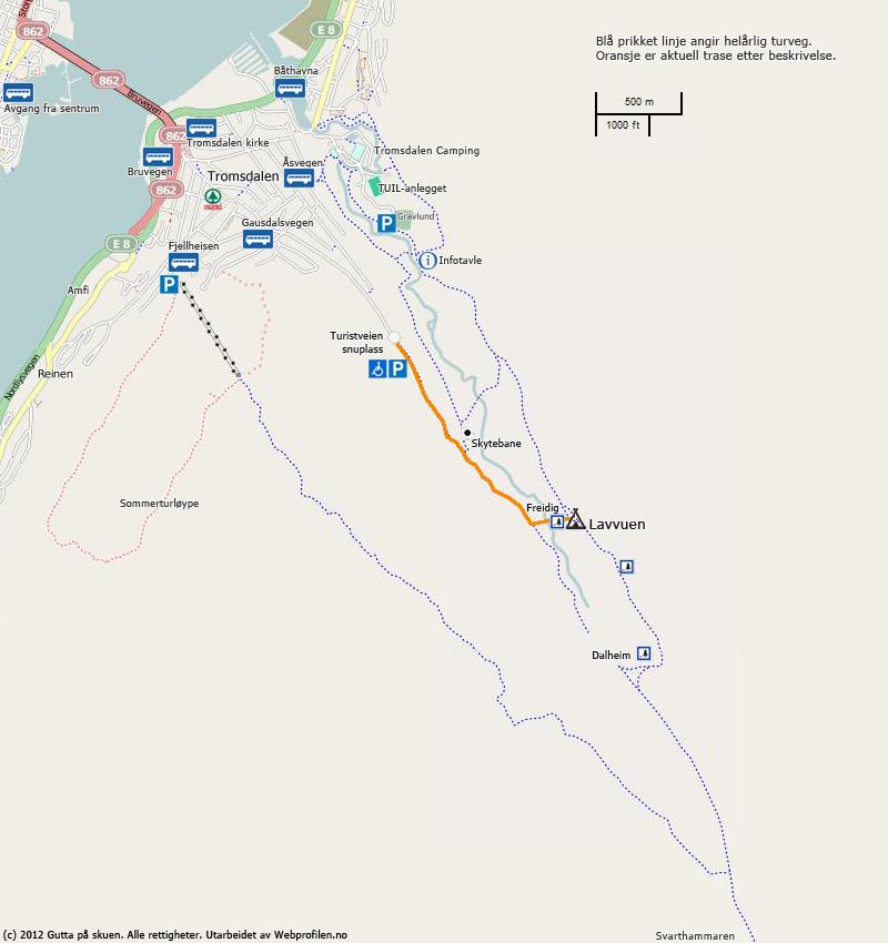 Kart Turistveien - Lavvuen