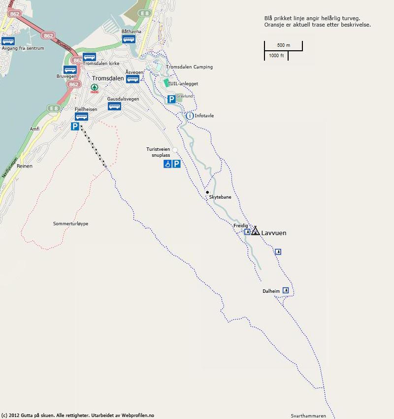 Kart over turløyper i Tromsdalen